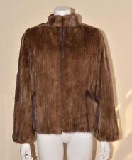 SAGA MINK Brown Real Mink Fur Coat Ribbed Patterned Jacket Zipper Medium M VTG