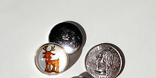 Christmas Reindeer Candy Cane 1 Glass Dome Button handcrafted collectible shank