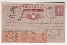 STORIA POSTALE - 1894 REGNO CARTOLINA-VAGLIA 4 LIRE SU 10 C.+ STRISCIA DI C.20