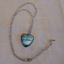 Heart Shape Necklace Pendant + Chain Faith Believe Adjustable Silvertone Blue