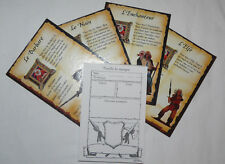 HEROQUEST LOT BLOC feuilles/marque + 4 FICHES HEROS GAMES WORKSHOP 01