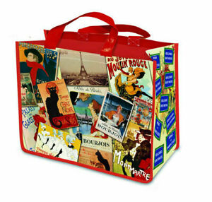 Reusable Vintage French Image Shopping Bag - Moulin Rouge, Eiffel Tower, La Chat