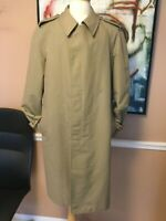 London Fog New Mens Tan Trench Coat Removable Winter Faux Fur Lining 42L- Large