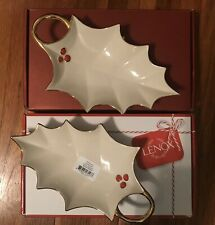 2 Matching Lenox Red Berry Holly Leaf Candy Dishes, Gold Trim, both New In Box