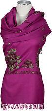 Pashmina Schal, Pink Grün hand bestickt embroidered 100% Wolle, wool stole scarf