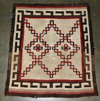 """Antique Navajo rug; Ganado -  Tight Weave - 45"""" x 39"""""""