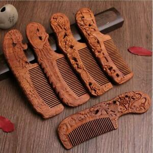 Natural Green Sandalwood Comb Carving Magpie Plum Blossom Wood Massage Hair Comb