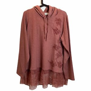 NWOT LOGO Lounge Lace Ruffle Hem Floral Embroidered Hoodie Tunic Size 2X