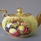 Vintage AYNSLEY Bone China FRUIT Orchard TEAPOT w LUSH GOLD Signed D Jones