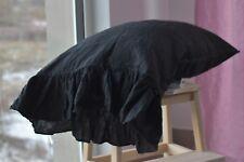 Pillow case color Black 100% Linen RUFFLE PILLOW SHAM Cover Queen King