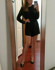 Zimmermann black crepe and lace romper US 2