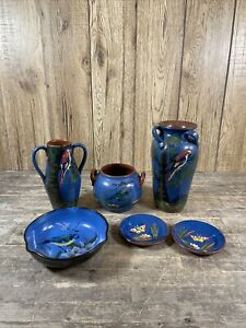 Quantity Of Blue Bird & Floral Themed Watcombe Torquay Pottery Vases & Dishes.