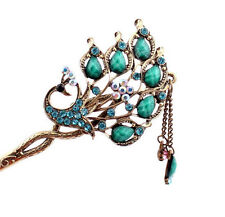 New Girl Women Fashion Green Rhinestone Peacock Ladies Hair Stick Hairpin 55
