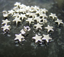 200 X Tiny Plata Antigua Tono Star Perlas De 6mm