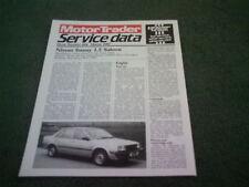 Mars 1985 Nissan Sunny moteur 1.5 Trader Service Dossier Des Données-Brochure