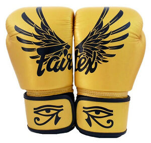 NEW Fairtex BGV1 Gold Falcon Muay Thai MMA K1 Boxing Gloves Limited Ed 12 14 16