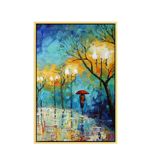 """HH151 100% Hand-painted Abstract oil painting on canvas Streetscape Unframed 36"""""""
