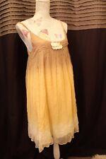Miss Sixty yellow dress size S 8-10 dip dye sequin lagenlook floaty beach boho