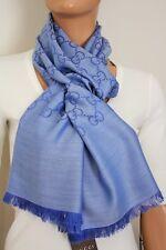 GUCCI 165904 Strickschal mit GG Jacquard-Muster 45x180 cm Wolle/Seide blau NEU