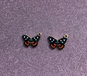 2 Black & Coloured Enamel Butterfly Charms