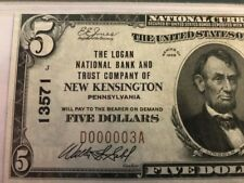 LOW SERIAL #3 1929 $5 Logan Bank New Kensington Pennsylvania PA Ch 13571 PMG 45