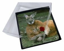 4x Kangaroo with Red Rose Picture Table Coasters Set in Gift Box, AK-1RC