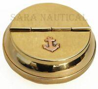 Vintage Shiny Brass Pocket Ashtray Anchor Round Cigarette Engraved Handmade