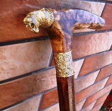 Machairodontinae Cane Walking Stick Bronze head handle burl STRONG 400 lb. 34 in