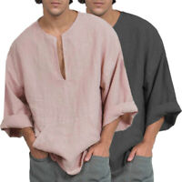 Summer Men Linen Cotton Long Sleeve Blouse Baggy Kaftan Holiday Beach V Neck Top