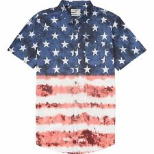 BILLABONG Men's RED WHITE & YEW S/S Button Up Shirt - NVY - Size Medium- NWT