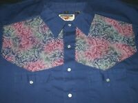 Authentic Western Youngbloods Pearl Snap Shirt Size L Leaf Pattern Cowboy