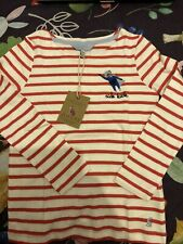 New Girls Joules Red Stripe Super Hero Top, Age 6 Years