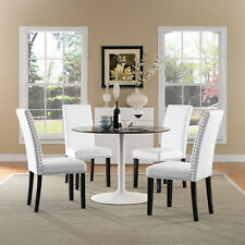 Modern Upholstered Faux Leather Nailhead Trim Parsons Dining Chair in White