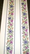Vintage Purple, Pink & Peach Flowers with Purple Stripe by Kingfisher 20135