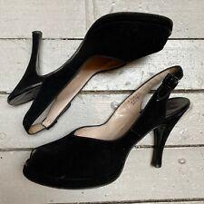 Vtg 1940s Andrew Geller Black Suede Peep Toe Slingback Heels 7 1/2