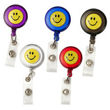 Smiling Face Retractable Pull Chain Badge ID Holder Reel Recoil Key Ring Clip