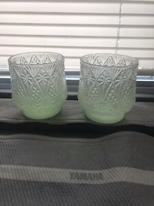 6 New Pottery Barn Easter Glass Green Votive Candle Holders