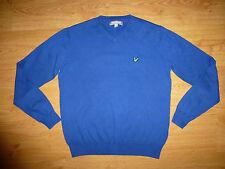 Men's Lyle & Scott Thin Knit Blue V Neck Cotton Jersey Jumper Sweater Top Size M