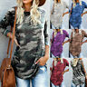 Women's Camouflage Print T-Shirt O-neck Long Sleeve Jumper Pullover Blouse Tops