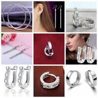 925 Sterling Silver Plated Crystal Drop/Dangle Silver Hoop Earrings UK Seller