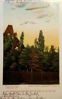 Historische Postkarte 1909, St. Thekla Kirche, Graf Zeppelin Fernfahrt, gelaufen