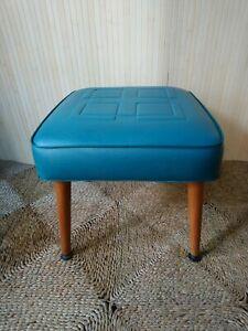 Fab Vintage Retro Sherborne Pouffe Footstool Stool Original Turquoise Blue Vinyl