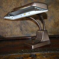 21630 Vintage DAZOR 1000 Art Deco Double Gooseneck  Desk Lamp Drafting Light