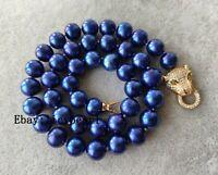 10-11 mm dunkel blau Süßwasser perle Halskette,  44.5 cm