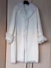 Belle blanc hiver long en fausse peau de mouton manteau