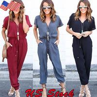 Women Playsuit Casual Short Sleeve Party Clubwear Jumpsuit&Romper Trousers Pants