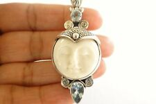 Bali Goddess Close Eyes Moon Face Blue Topaz 925 Sterling Silver Pendant