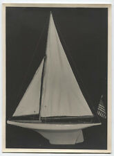 VINTAGE PHOTOS MODEL SAILBOATS WITH AMERICAN FLAG. B   W SILVER PRINTS. TWO SET