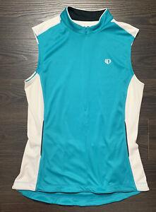 Pearl Izumi Women's Sz XL Teal And White 3 Back Pocket Cycling Zip Shirt Jersey