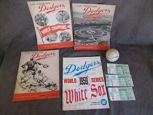 1958-1960 Los Angeles Dodgers World Series Program Tickets & Baseball ch928